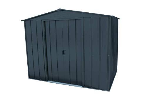 Duramax TOP Gartenhaus aus feuerverzinktem Stahl, 2,4 x 15,2 cm, stabile, verstärkte Dachkonstruktion, wartungsfreie und wetterfeste Metallgartenschuppen, Anthrazit