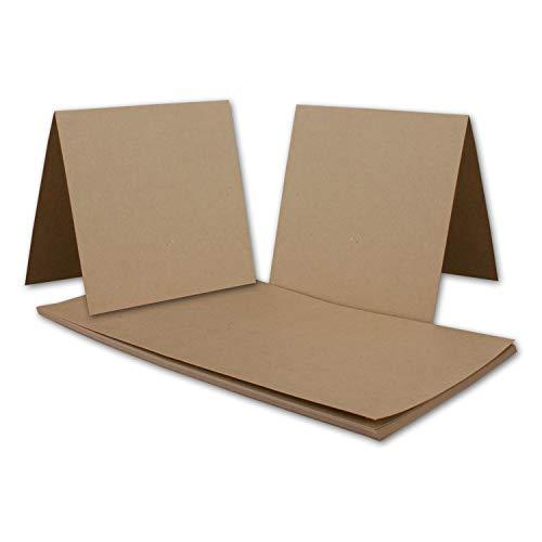 50x Vintage Kraftpapier Falt-Karten Quadratisch - 150 x 150 mm - sandbraun - Recycling - 350 g/m² blanko Bastel-Karten I Umwelt by Gustav NEUSER®