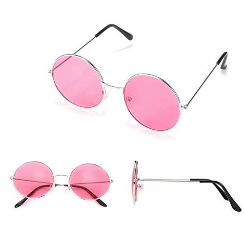 Gafas duraderas Interior del coche de la lente de aleación de gafas de sol retro gafas de sol redondas de las mujeres Gafas de sol Mujer marco de los vidrios del conductor Gafas Gafas ( Color : Pink )