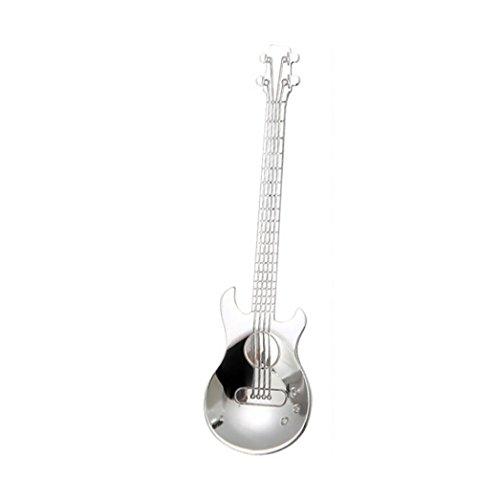 YJYDADA Stainless Steel Guitar Spoons Rainbow Coffee Tea Spoon Flatware Drinking Tools (Silver)