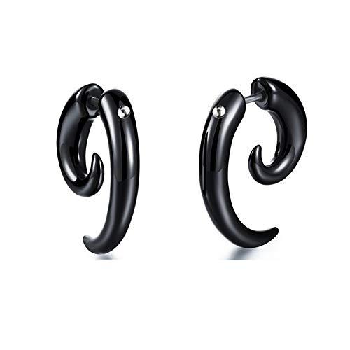 Deanyi Pendientes de botón Pendientes de Halloween Pendientes Divertidos Pendientes de botón Falsos Pendientes de botón Negro de Cuerno para Mujeres/Hombres 1 par