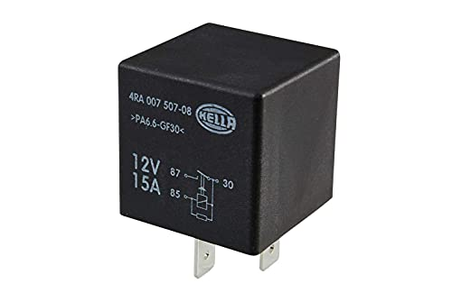 HELLA 4RA 007 507-081 Relé, corriente de trabajo - 12V - 4polos - Diagrama de circuito: X - Conector: X - Contacto de cierre - Color: negro - sin soporte
