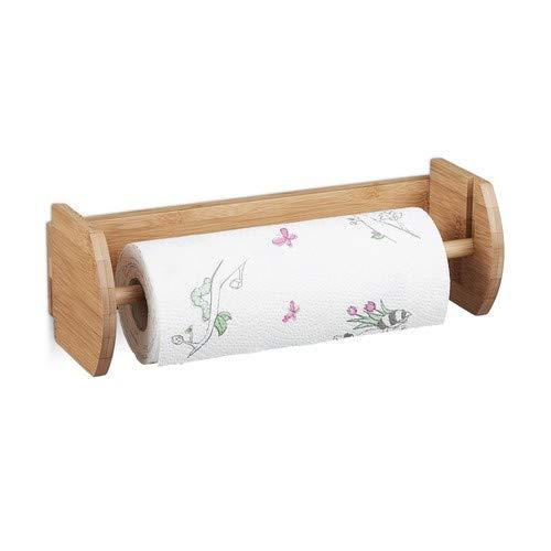Relaxdays Bamboe HBT: 12 x 37 x 13 cm papierrolhouder hout voor wandmontage als dispenser en houder voor keukenroldispenser en huishoudrolhouder, natuur muur keukenrolhouder