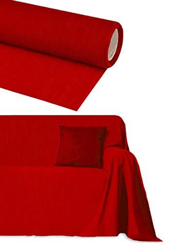 Byour3 Funda para sofá de algodón de 2, 3, 4 y 5 plazas, no necesita planchado, cubre sofá esquinero con chaise longue fabricado en Italia (rojo rubí de 3 plazas)