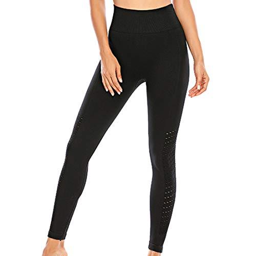 Damen Yogahose Hohe Taille Sport Leggins Lange Yoga Pants Atmungsaktive Mesh-Yogatights Fitnesshose Gym Elastische Capri Jogginghose Push Up Running Radfahren Wandern Training Sporthosen B-Black L