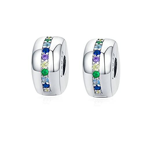 Abalorio espaciador de clip de plata de ley 925 con cierre de clip y cierre espaciador, compatible con pulseras europeas, Cristal Plata esterlina,