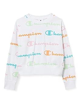 Champion Seasonal AC Allover Logo Crewneck Croptop Sweatshirt, White WL001, 5-6 Years Girls