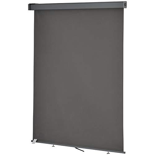 Outsunny Toldo para Balcón Doble Posición Colocación en Techo o Pared Función Vertical y Horizontal con Tirador para Sombra y Privacidad 160x250 cm Gris