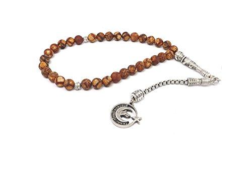 Remi Bijou Gebetskette - Tesbih 33 Perlen aus Achat Braun mit Anhänger 'Tanri Türkü Korusun'