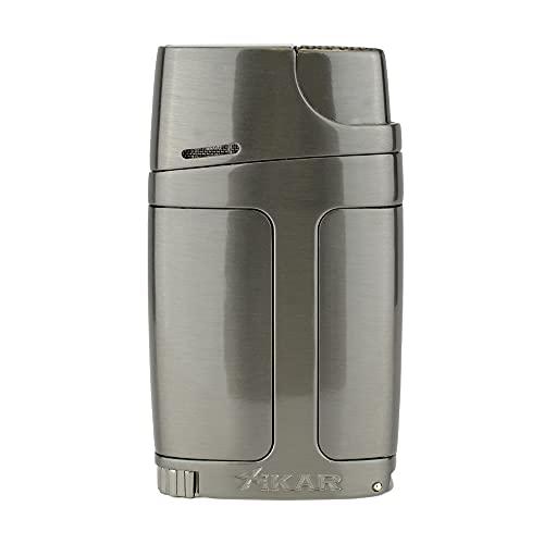 Xikar ELX Double Jet Flame Lighter with 9mm Cigar Punch, Ergonomic Design, G2 Gunmetal