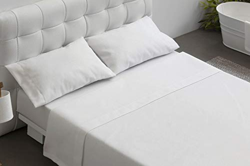 Burrito Blanco Juego de Sábanas Blancas Hotel Lisas de Algodón 100% para Cama de Matrimonio de 180x190 cm hasta 180x200 cm (Disponible en más Medidas)