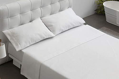 Burrito Blanco Juego de Sábanas Blanco de Hostelería para Cama Individual de 90 cm x 190/200 cm (Disponible en más Medidas)