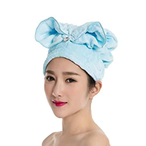 BIGBOBA Bonnet de douche réutilisable bonnet de douche oreille de lapin L'eau super absorbante protège le foulard enveloppé dans les cheveux