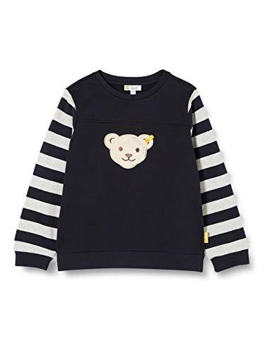 Steiff Jungen mit Streifen und Teddybärmotiv Sweatshirt, Blau (Black Iris 3032), (Herstellergröße: 104)