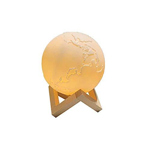Luz de globo impresa en 3D, lámpara de escritorio creativa creativa, luz de noche con marco de madera LED, luz de luna, luz de tierra pintada, control remoto regulable, recargable, con luz de globo
