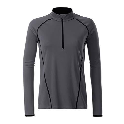 JAMES & NICHOLSON - Femme Tee-shirt technique manches longues pour fitness et sports (L, titane/noir)