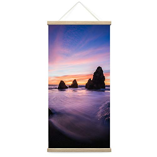 """Bestdeal Depot Hanging Poster Sun Setting into the Ocean VIII Coastal Multicolor Photography Relax/Calm Romantics Sunset Canvas Prints Wall Art for Living Room, Bedroom - 18""""x36"""""""