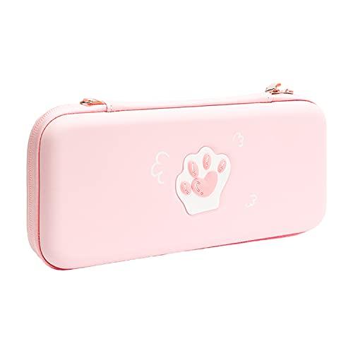 Antetek Estojo de transporte para bolsa de viagem portátil Nintendo Switch Lite, linda garra de gato ultra fina capa protetora de armazenamento acessórios, kit de capa rígida protetora à prova d'água (rosa)