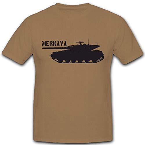 Merkava Panzer israelischer Kampfpanzer Israel Streitkräfte Tank - T Shirt #4346, Farbe:Sand, Größe:L