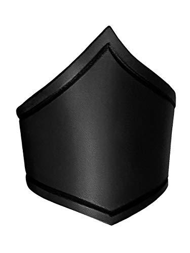 Andracor – Handgearbeiteter Amazonen-Oberarmreif aus echtem Leder mit Rillenverzierung - Schwarz – Größe S - Zubehör LARP Mittelalter Wikinger Fantasy & Cosplay