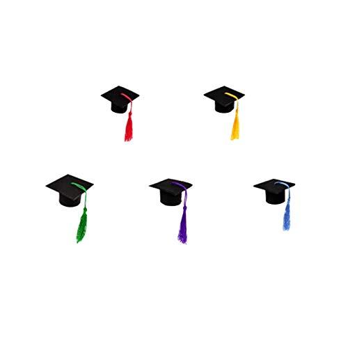H87yC4ra 5 piezas mini gorra de graduación académica con borlas, decoración de graduación 2021 regalos de graduación mini sombrero doctorial