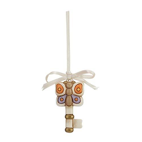 THUN - Chiave con Farfalla da Appendere - Bomboniera - Formato Mini - Ceramica - 3 x 6 cm