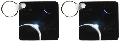 3dRose A sun announcing a new dawn over a solar system with the bible verse psalm 118 verse 24 - Key Chains, 2.25 x 4.5 inches, set of 2 (kc_99100_1)