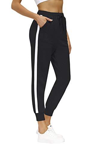 Yidarton - Pantalones de deporte para mujer, de algodón, pantalones de deporte, pantalones largos de entrenamiento, fitness, correr, con cintura elástica Negro S