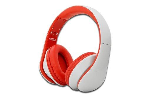 ednet Head Bang Stereo Kopfhörer mit Bügel, on Ear, 3,5 mm Klinkestecker, weiß/rot