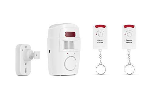 TECHNOSMART Alarm mit Bewegungsmelder, Alarmanlage PIR mit Infrarot Bewegungssensor kabellos 118 dB, 2 x Fernbedienung, für Haus, Wohnung, Geschäft, Büro