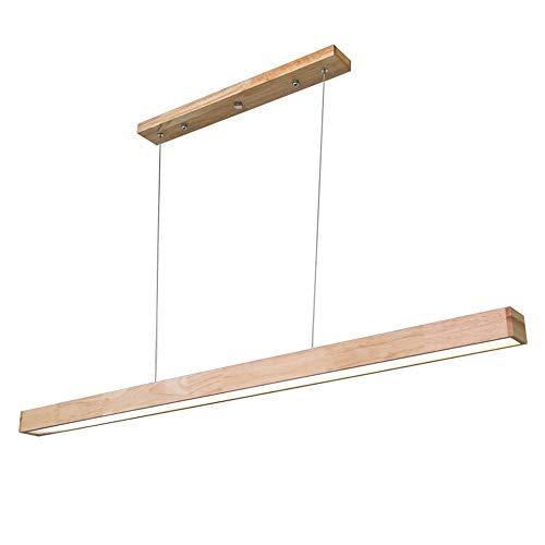 Raelf Elegante y simple LED araña de restaurante madera grano pasillo tira luz de la tienda oficina sala de reuniones rectangular luz de suspensión PMMA alta transmitancia lámpara colgante