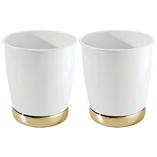 mDesign Round Metal Small Trash Can Wastebasket, Garbage Container Bin for Bathrooms, Powder Rooms, Kitchens, Home Offices - Durable Solid Steel - 2 Pack - White/Soft Brass