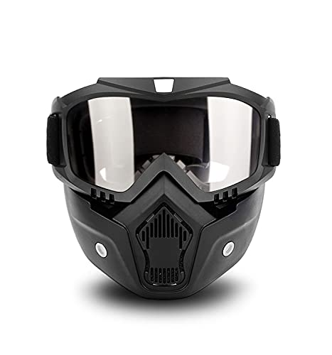 LanTins Mask Detachable, Motorcycle Goggles, Airsoft Safety Goggles Mask, Road Riding UV Motorbike Glasses with Dustproof Mask, Glasses Windproof (Clear Lens)