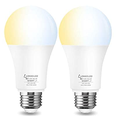 LOHAS Smart LED Lights Bulbs A19 LED 40W Equivalent, E26 Base 2700k Warm White 5000K Daylight White Auto On-Off LED Light Bulb 4Pack