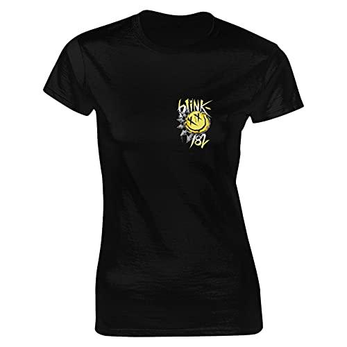 Blink 182 T Shirt Black S Women T-Shirt aus Baumwolle für Damen Kurzarm Womens Tshirt Rundhalsausschnitt