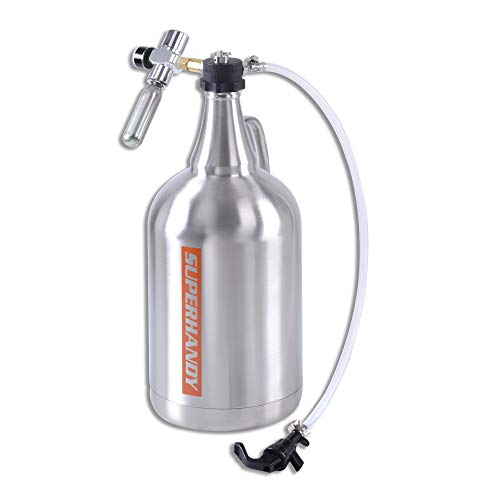 SuperHandy Growler 1 Gallon 128 Ounce Stainless Steel Double Wall Insulated Tap Dispenser for Craft/Draft/Homebrew Beer 30PSI Regulator Relief Ring Food Grade use 12/16 Gram 3/8'-24UNF Thread Cylinder