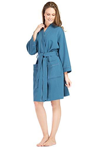 Fishers Finery Women#039s Waffle Kimono Resort Spa Robe Ultra Absorbant Blue M