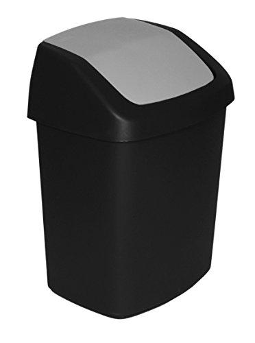 CURVER Abfalleimer mit Schwingdeckel 15 L in schwarz/grau, Plastik, 30.6 x 24.8 x 41.8 cm