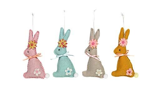 Gisela Graham Conejo de Pascua de Fieltro Pastel con Decoraciones de Flores – Juego de Cuatro
