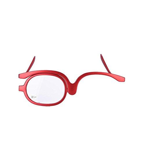 Gafas de maquillaje de ojos, magnifican el ojo giratorio El ojo de aumento de las lentes individuales Las mujeres crean las gafas que doblan las gafas de lectura cosméticas (02 #)