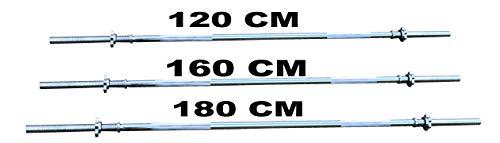 Lisaro Langhantel-Stange mit Sternverschlüssen 120/160/182 cm - Standardnorm gerändert und verchromt | Scheibenaufnahme Ø 30 mm | Profi Langhantel (160 cm)