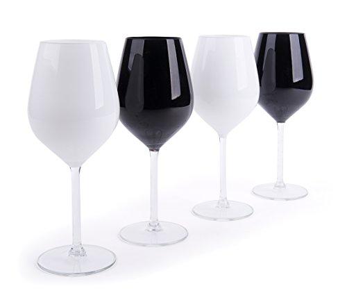 Excelsa Color Wine Set 4 Calici Vino, Bianco e Nero, 4 unità