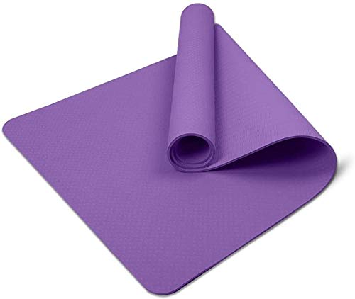 GREATY Yoga Mat Exercise TPE Fitness Mat 8 mm Extra Thick Non-Slip Large Padded High Density for Pilates Gymnastics Stretching Fitness & Workout, Purple