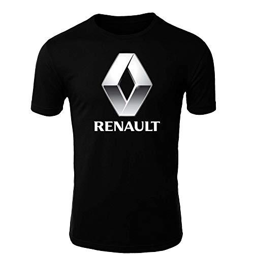 Renault T-Shirt Logo Clipart Herren CAR Auto Tee TOP Black White Short Sleeves (S, Black)