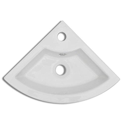 Festnight Vasque à Poser de Salle de Bains Céramique Angle 460 x 330 x 125 mm Blanc