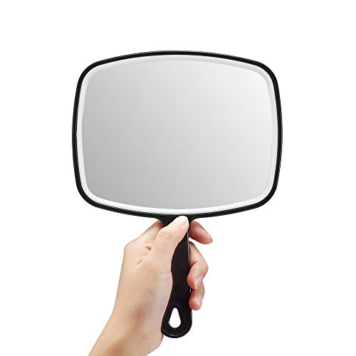 OMIRO Hand Mirror, Black Handheld Mirror with Handle, 6.3' W x 9.6' L