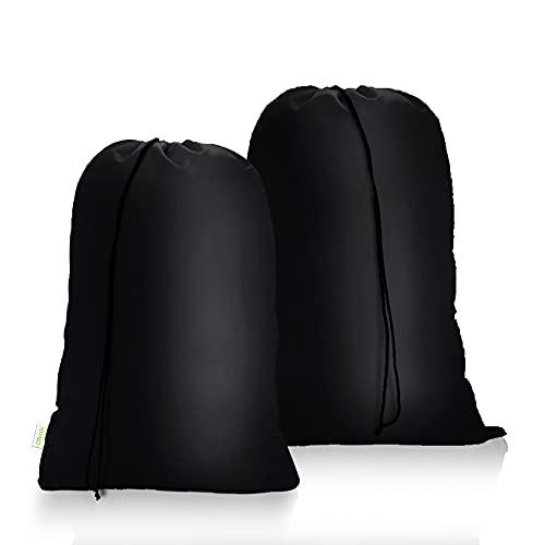 OTraki Bolsa de Colada 2 pcs con Cierre de Cordón Cesto Ropa Sucia Plegable Saco Lavadora Organizador Material Antidesgarros para Cuarto de Lavado Cocina Dormitorio Hotel de Viaje 60 X 80cm Negro