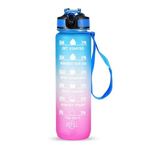 Lixada 1L Bottiglia d'Acqua Senza BPA A Prova di Perdita con Indicatore del Tempo Bollitore Sportivo Portatile Leggero per Il Campeggio Ufficio Scuola Palestra Allenamento