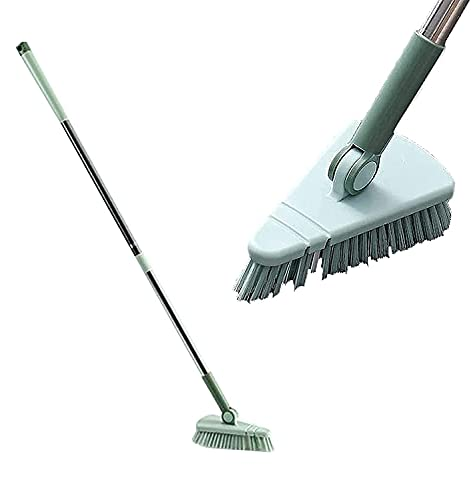 Swivel Scalable Cleaning Brush,Cleaning Brush with Removable Triangle Head & Extendable with 37 Inches Long Handle, Good Grip, Great for Cleaning Bathroom, Patio, Kitchen (Green)