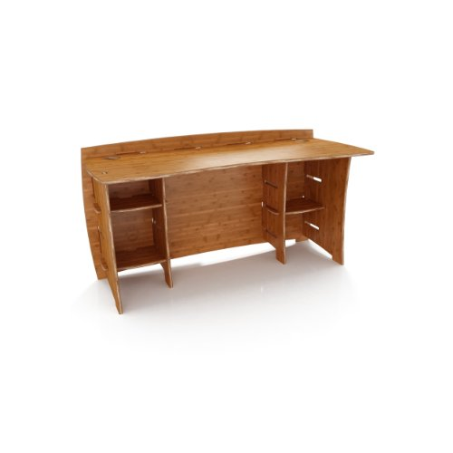 Legaré Furniture Straight Office Desk, Home Computer Desk, No Tool Assembly with Adjustable Shelves, Amber Bamboo